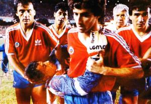 """Ricardo """"Cóndor"""" Rojas, después de cortarse él mismo la cara."""