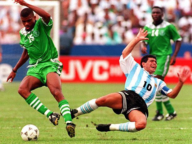 Su último partido en un Mundial contra Nigeria. Llegó a 21 partidos.. con 22, rompía un récord mundial..