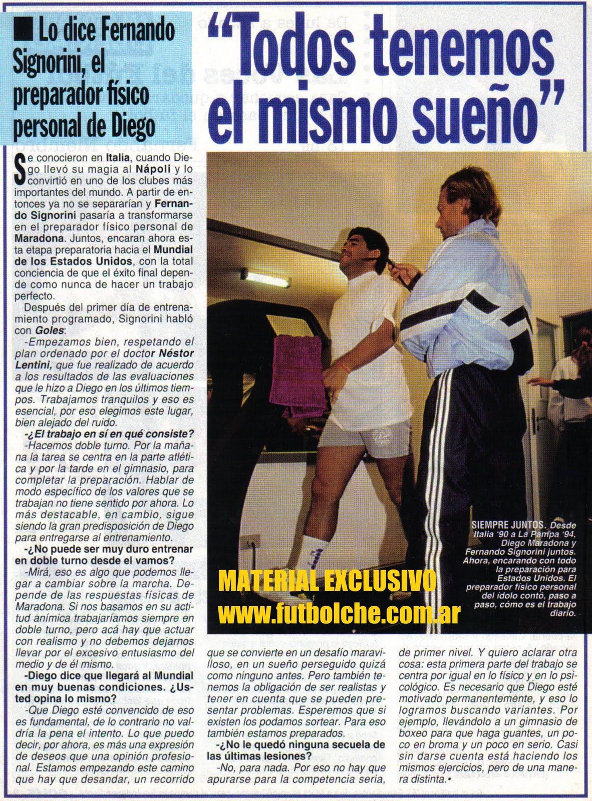El entrenamiento del Diego.
