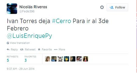 El humo más doloroso (?). Finalmente, Iván Torres siguió en Cerro para la desazón de los hinchas azulgranas.