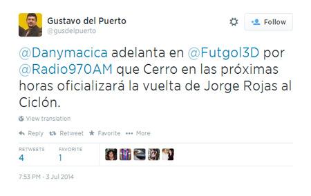 El humo de Jorgito Rojas se extendió por todos lados. Su vuelta a Cerro era un hecho, pero en las redes sociales. Ahora practica en GELP.