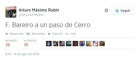 Tiene razón Arturo, porque Bareiro sigue en Nacional, que está a un paso de Cerro.