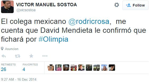 Me confirman que el jugador le confirmó a un colega que le dijo otro colega. Mendieta ya jugó contra Olimpia.
