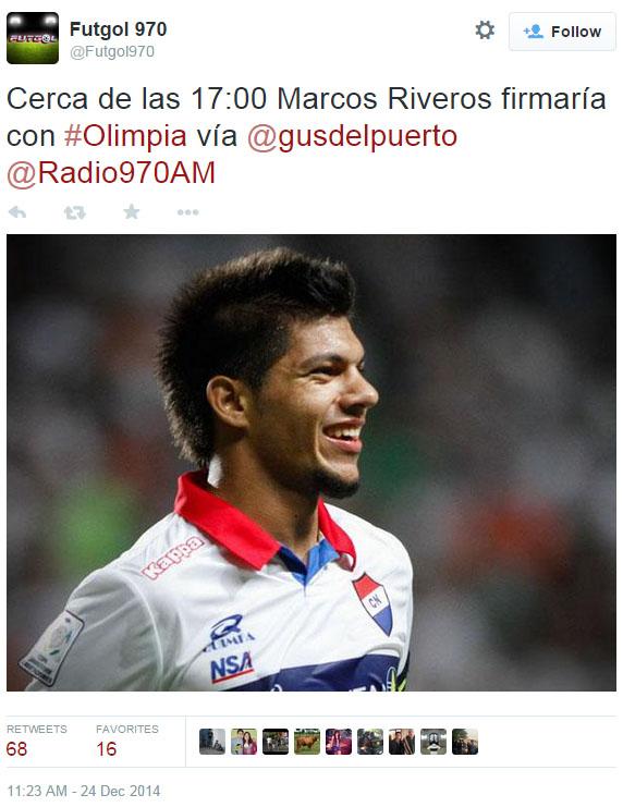Riveros es uno de los que más apareció en esta sección. Sigue esperando su contrato de cinco años con Olimpia.