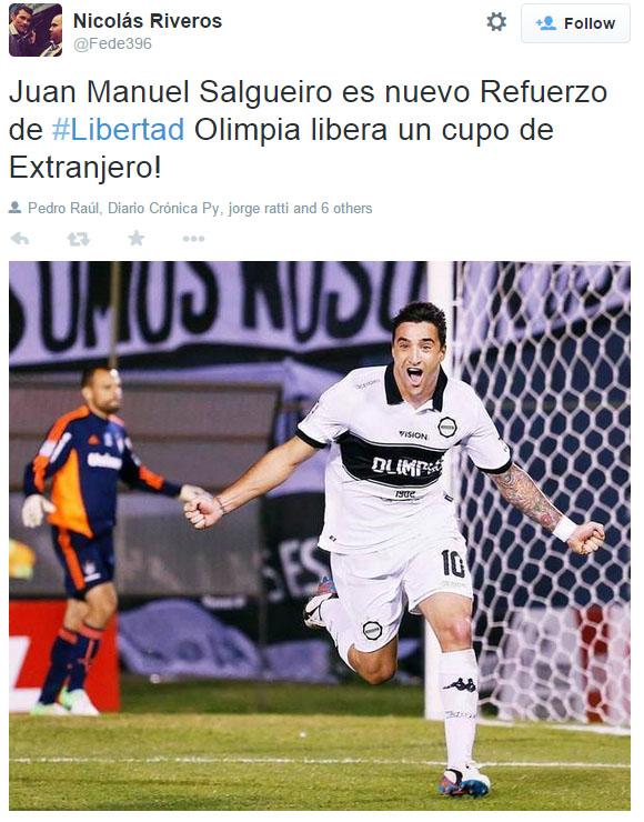 Salgueiro es tan jugador de Libertad que usa el blanco y negro, pero horizontalmente.