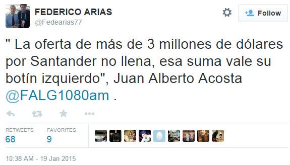 Podría ser el tuit del año. Una oferta de tres millones de dólares por un botín. Solo Acosta, de Guaraní.