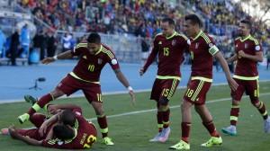El festejo de los jugadores venezolanos.
